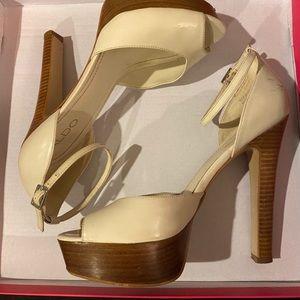 Creme wooden platform strap heel